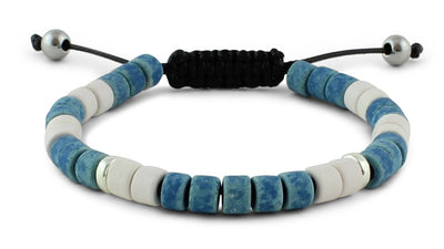 Blue, White and Silver Ceramic Bracelet