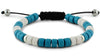 Turquoise, White and Silver Ceramic Bracelet