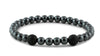 Hematite and Two Black CZ Diamond Beads Bracelet