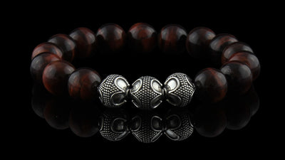 Grand Red Tiger Eye Silver Trio Bracelet