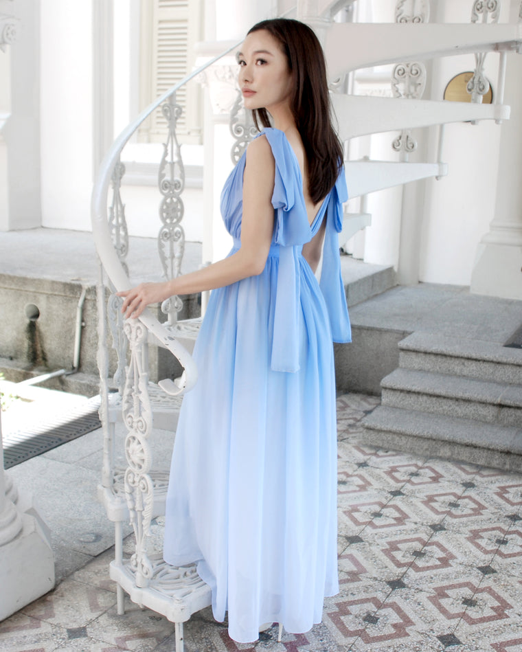 Claire Ribbon Back Sky Blue Ombre