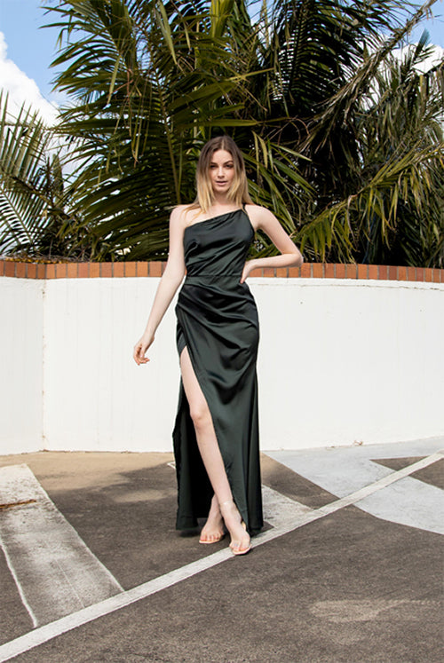 (NEW!) Cass Deep Green Toga Satin Split Maxi