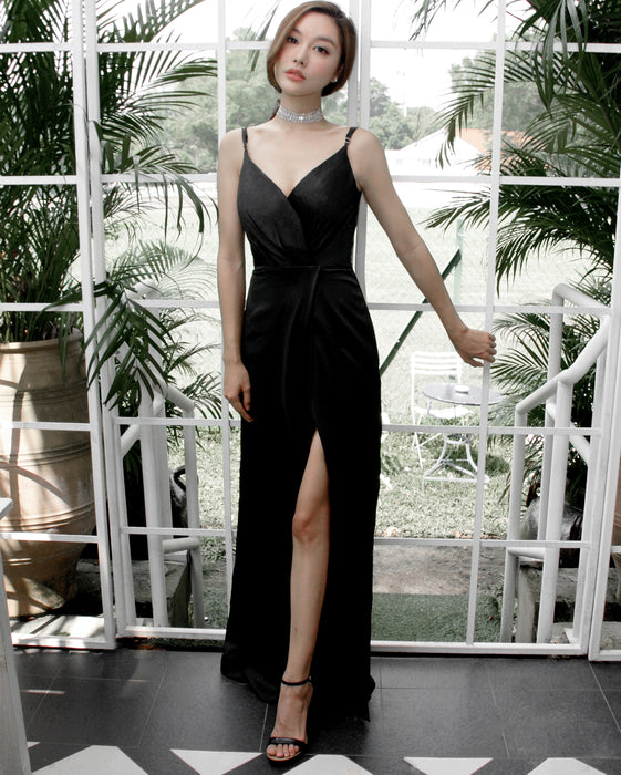 (BACK IN STOCK) Gisele Timeless Black Satin Maxi