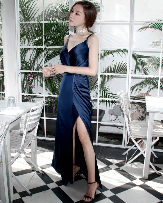 (BACK IN STOCK) Gisele Sapphire Blue Satin Maxi
