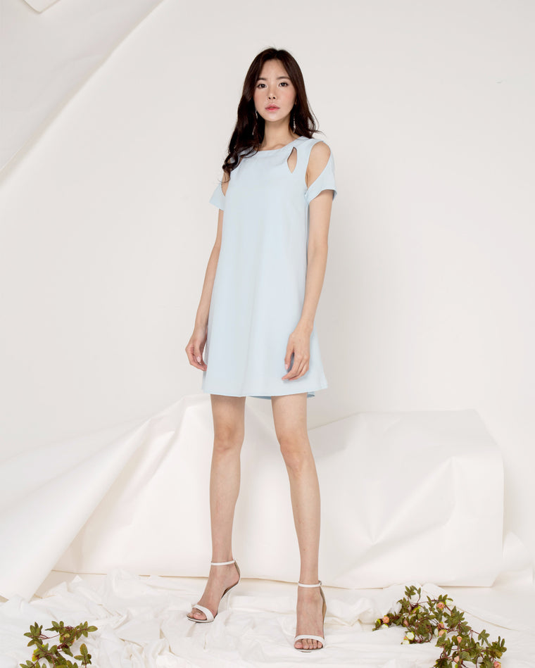 Ophelia Illusion Shift Dress - Pastel Blue