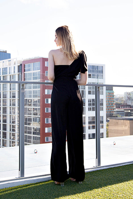 (NEW!) Cara Black Bow Jumpsuit