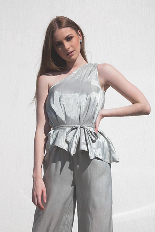 Cora Mint Green Toga 2-Piece Satin Crepe Jumpsuit