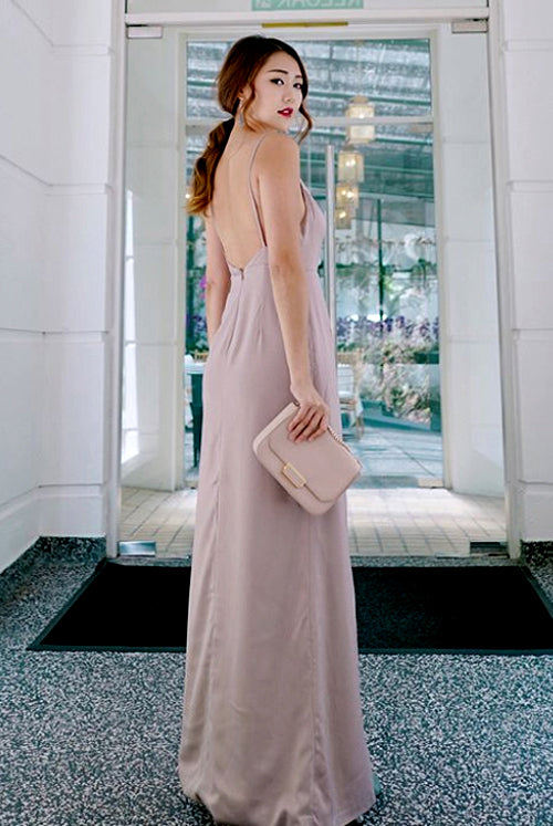 (BACK IN STOCK) Dana Champagne Nude Satin Wrap Maxi