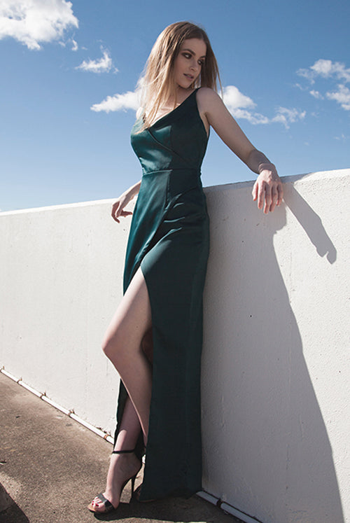 (BACKORDER II) Dana Deep Green Rich Satin Wrap Maxi