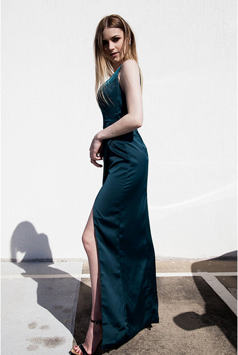 (BACK IN STOCK) Dana Deep Green Rich Satin Wrap Maxi