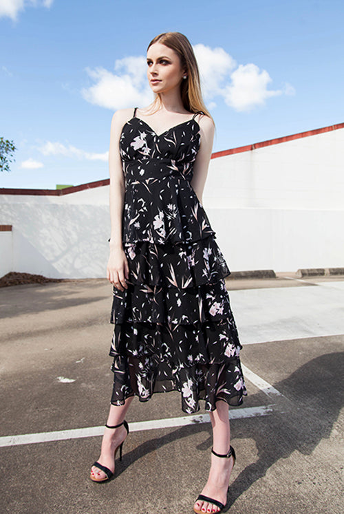 (NEW!) Demi Floral Layered Chiffon Midi