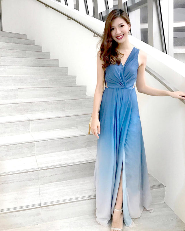 (BACK IN STOCK) Dawn Pastel Blue Ombre Dress