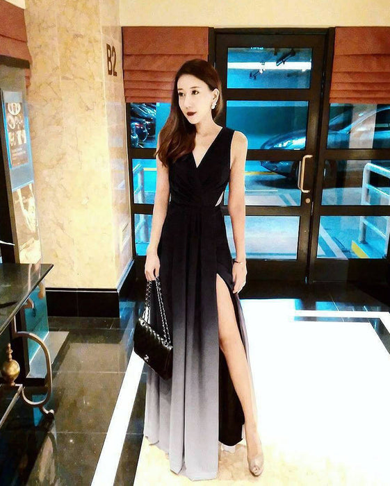 (BACKORDER V) Dawn Black Ombre Slit Maxi