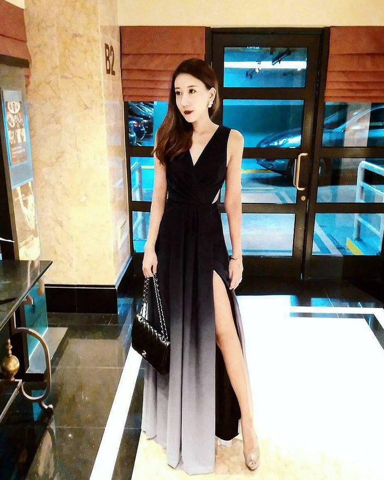 (BACKORDER XV) Dawn Black Ombre Slit Maxi
