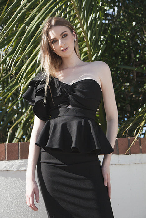 (NEW!) Goldie Black Toga Frill Peplum Midi