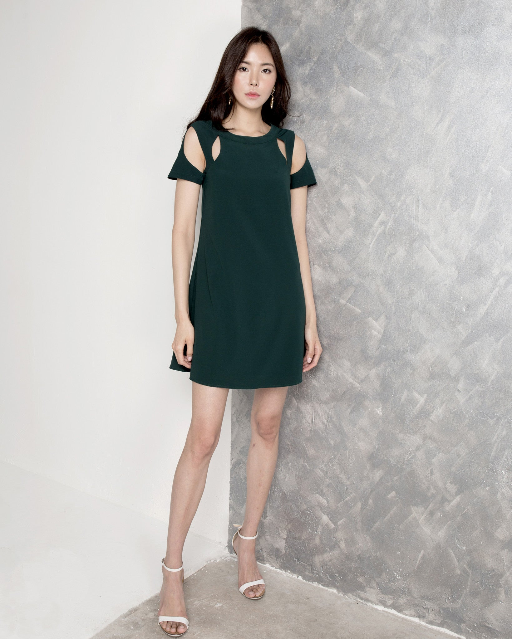 Ophelia Illusion Shift Dress - Forest Green