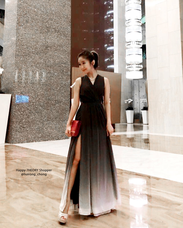 (BACK IN STOCK) Dawn Black Ombre Slit Maxi
