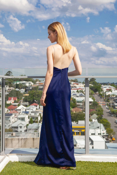 (BACK IN STOCK) Megan Midnight Blue Diamonte Strap Satin Maxi