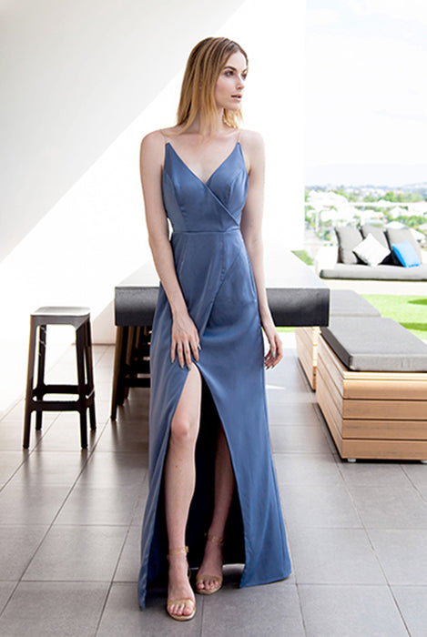 (BACK IN STOCK) Megan Pastel Blue Diamonte Strap Satin Maxi