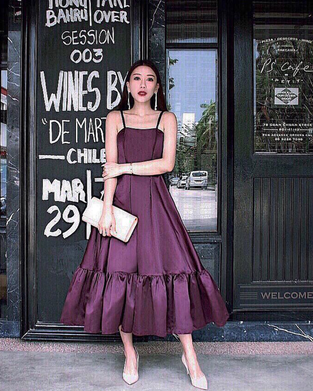 Alice Wine Plum Frill Satin Midi