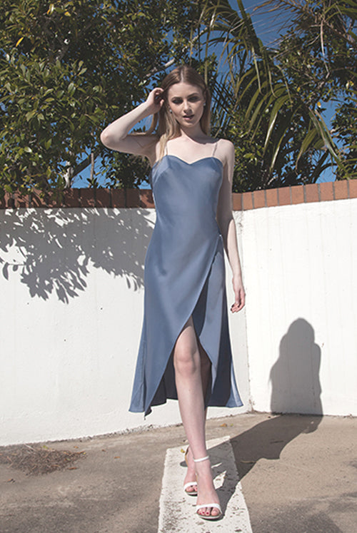 (NEW!) Sadie Dusty Blue Diamonte Strap Satin Midi