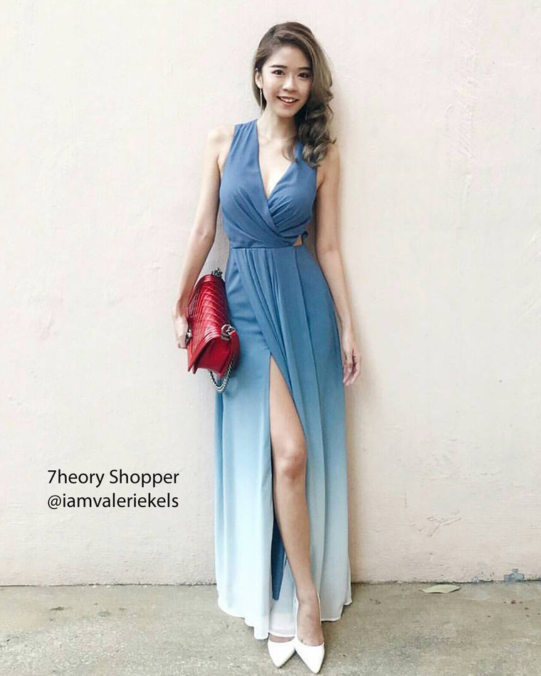 (BACKORDER) Dawn Pastel Blue Ombre Dress