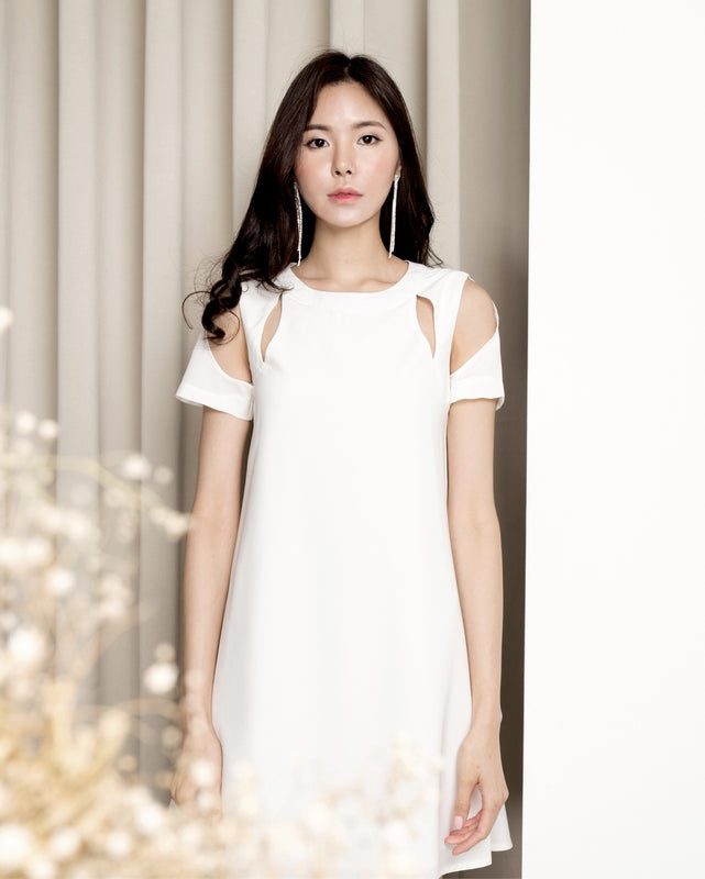 Ophelia Illusion Shift Dress - White