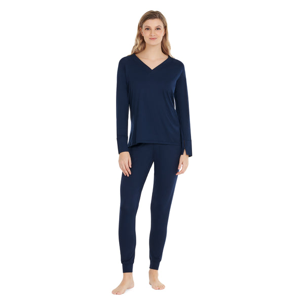 women's cooling pajamas navy blue full
