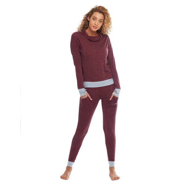womens thermal pajamas burgundy full