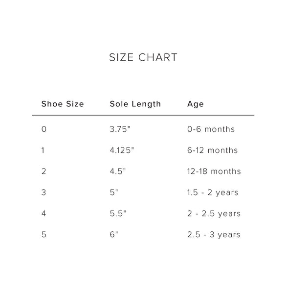 Gray Fox Baby and Toddler Shoe Sizing Chart