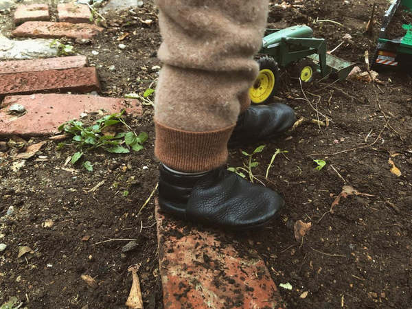 In the Garden with our Vegetable Tanned Black Leather Toddler Loafers