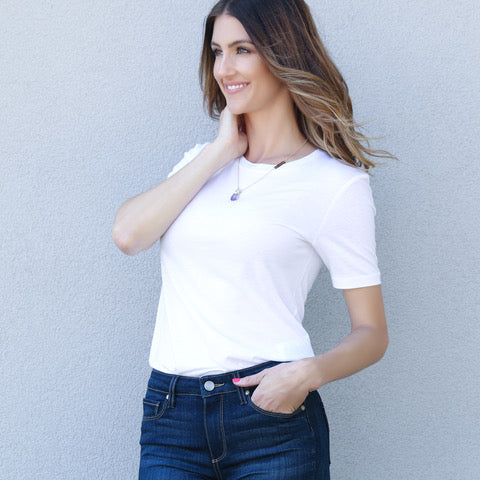 white t shirt and high waist denim