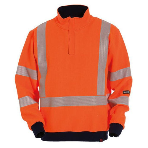 Tranemo Catex Hi-Vis FR Zip Front Sweatshirt-RBM Offshore Safety Supplies