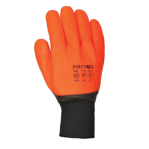 Portwest Weatherproof Hi-Vis PVC Gloves-RBM Offshore Safety Supplies