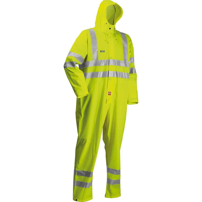 Lyngsoe Hi-Vis Microflex Waterproof FR Overalls-RBM Offshore Safety Supplies
