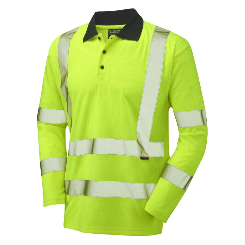 Leo Hi-Vis Comfort Long Sleeved Polo Shirt-RBM Offshore Safety Supplies