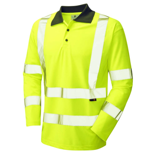 Leo Hi-Vis Coolviz Long Sleeved Polo Shirt-RBM Offshore Safety Supplies