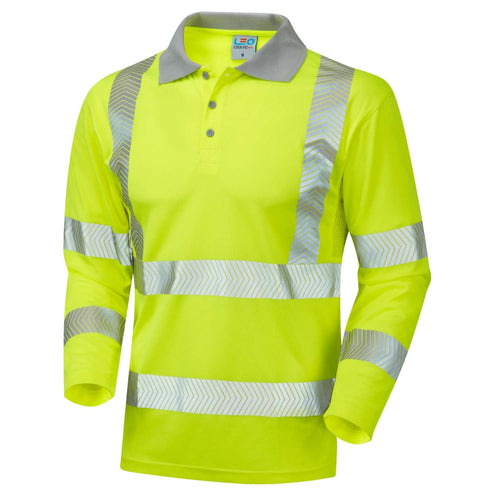 Leo Hi-Vis Coolviz Plus Long Sleeved Polo Shirt-RBM Offshore Safety Supplies
