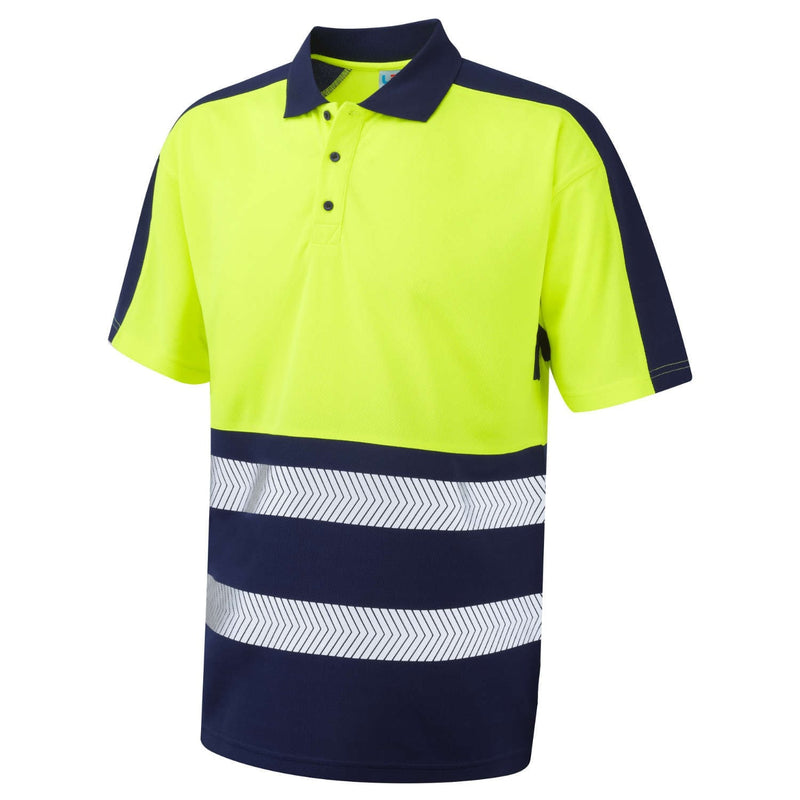 Leo Hi-Vis Coolviz Plus Two-Tone Polo Shirt-RBM Offshore Safety Supplies