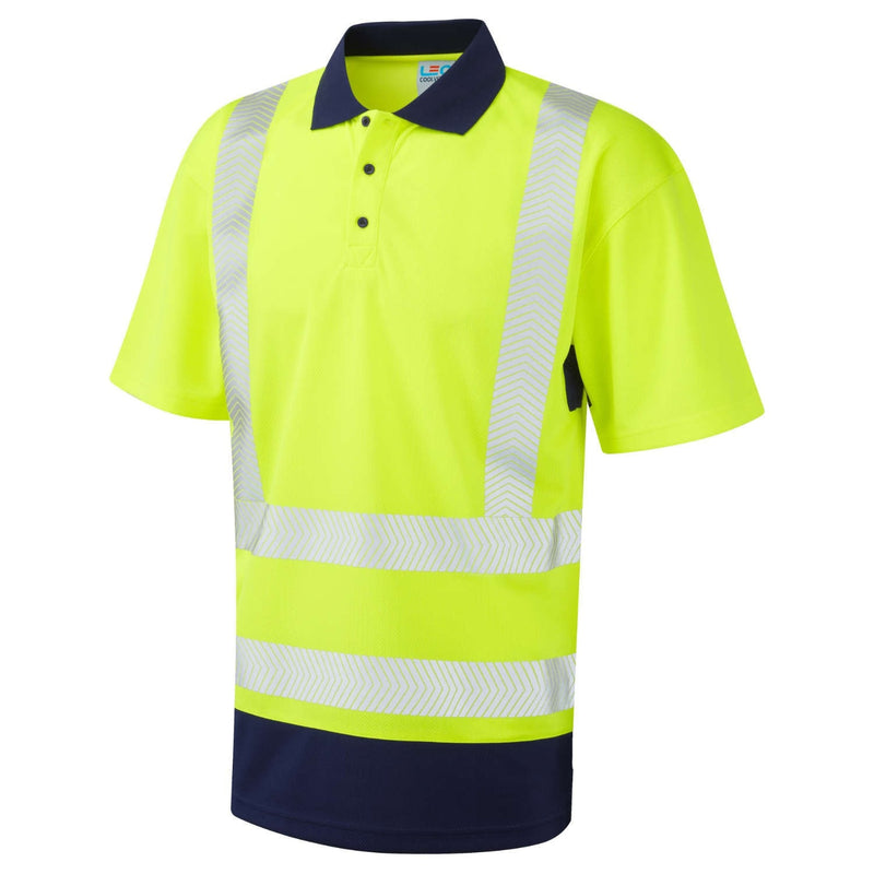 Leo Hi-Vis Coolviz Plus Contrast Polo Shirt-RBM Offshore Safety Supplies