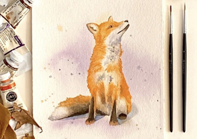 How to Draw a Fox. Step-by-Step Watercolor Instruction