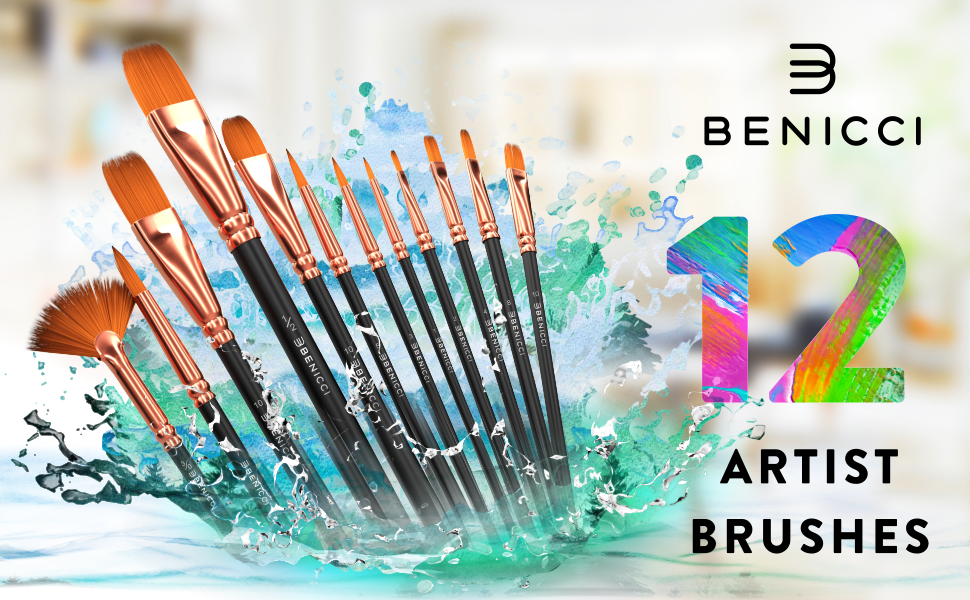 Artist Paint Brushes Set of 12