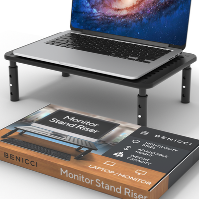 Benicci Monitor Stand - 14.6 x 9.2-Inch Portable and Cooling Desk Riser for Laptop