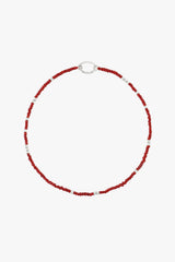 Berry red clasp necklace silver