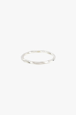 Hammered stacking ring silver