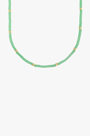 Sea green necklace gold plated