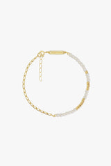 Think twice chain bracelet white gold plated