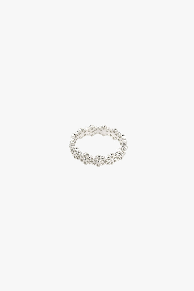 Poppy flower index ring silver