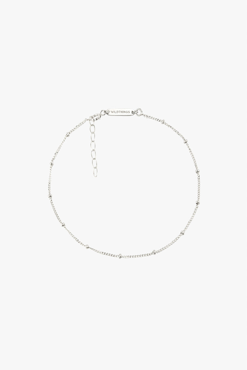 Stud chain anklet silver