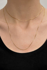 Middle box necklace 14k solid gold (48cm)